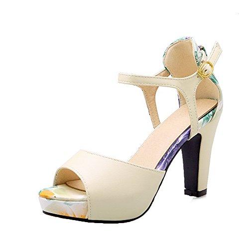 VogueZone009 Women Buckle PU Peep-Toe High-Heels Assorted Color Sandals, CCALP013708 Beige