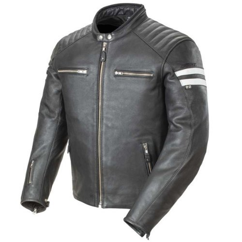 Joe Rocket 1326-1003 Classic '92 Men's Leather Motorcycle Jacket (Black/White, Medium)