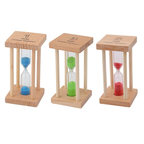 Shouyi Hourglass-3 Pcs Sand Clock Timers Sets 1min / 3mins / 5mins for Children's Toys, Family Ornaments, Timetable Playing Cards, Sauna Time-Home, Office,Study Decoration-Timer Magnet Hourglass