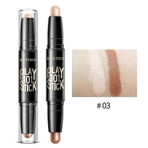 Highlighter Stick Cream Shimmer Waterproof Long-lasting High Light Pencil Counter Casual Double-end 2 in 1 Highlighter Stick (C)
