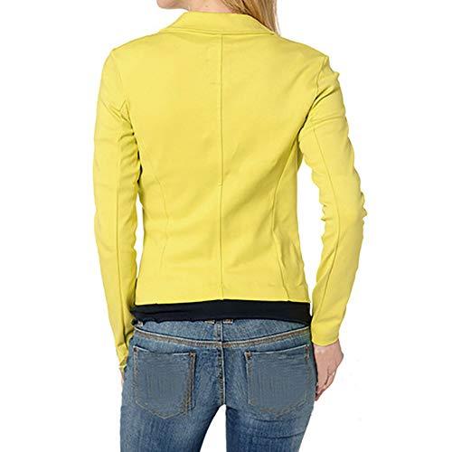 Tops Veste Manches Slim Yvelands Veste Longues Femme Blazer Costume Jaune Outwear wfSSpgIq