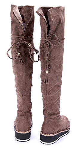 Schuhtempel24 Damen Schuhe Overknee Stiefel Stiefeletten Boots Keilabsatz Zierschleife 4 cm Khaki