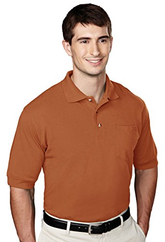 Tri-mountain Mens 60/40 pique pocketed golf shirt. - BURNT ORANGE - X-Large