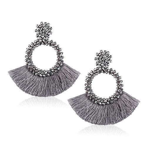 Tassel Beads Statement Hoop Earrings for Women