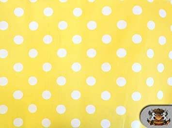 amazoncom polycotton printed polka dots white yellow background fabric by the yard