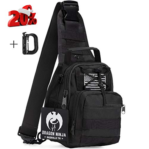 Dragon Ninja Tactical Sling Bag for Men and Women Premium Backpack Military Sport Daypacks for Carrying EDC Camping Hiking and Travel 1000D Water Resistant with D Ring Clip and Padded Strap
