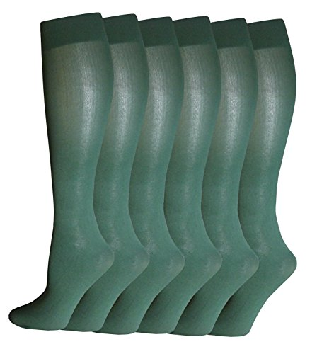 Differenttouch 6 Pairs Pack Women Opaque Stretchy Spandex Knee High Trouser Socks (Hunter Green),size 9-11