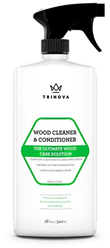 Wood Cleaner, Conditioner & Polish - For Hardwood Floors, Furniture & Cabinets - Removes Stains & Restores Shine - Wax & Oil Polisher - Works on Stained & Unfinished Surfaces - 18 OZ - TriNova (Fake Hard Wood Floors compare prices)