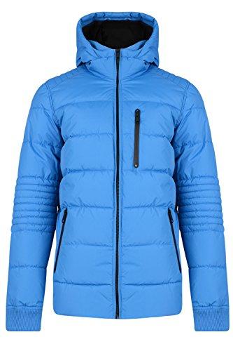 Bleu Matrix Manteau Hommes Matelassé Doudoune Capuche Fermeture Cobalt Éclair Threadbare Pqxpvz