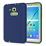 Galaxy Tab 3 Lite 7.0 Case, TKOOFN Shockproof Heavy Duty Rugged Hybrid Silicone Case Cover for Samsung Galaxy Tab 3 7-Inch SM-T210 / SM-T211(Navy+Kelly)