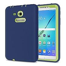 Galaxy Tab 3 Lite 7.0 Case, TKOOFN Shockproof Heavy Duty Rugged Hybrid Silicone Case Cover for Samsung Galaxy Tab 3 7-Inch SM-T210 / SM-T211(Navy+Kelly)