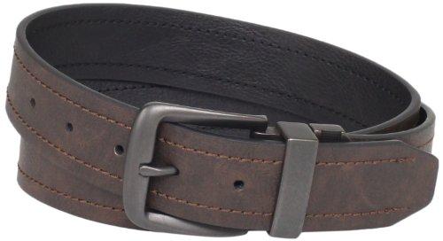 [Dickies Men's 1 9/16 in. Reversible Belt With Logo Buckle] (Leather Logo Buckle Belt)