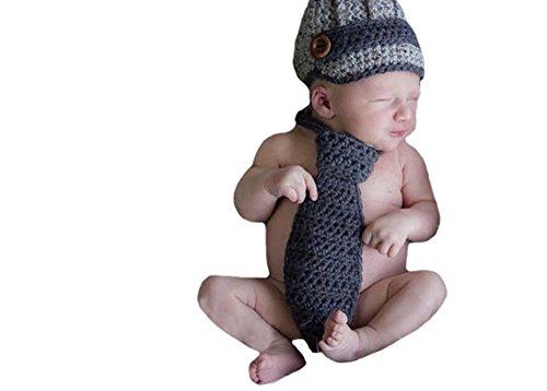CX-Queen Baby Photography Prop Crochet Knit Newborn Newsboy Hat Beanie Tie Set
