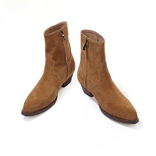 Chelsea Boots Uomo Camoscio Casual Dress Stivali Stivaletti Formali Cerniere Laterali Scarpe Marrone