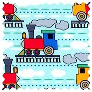 product image for SheetWorld 100% Cotton Percale Fabric by The Yard, Kiddie Trains, 36 x 44