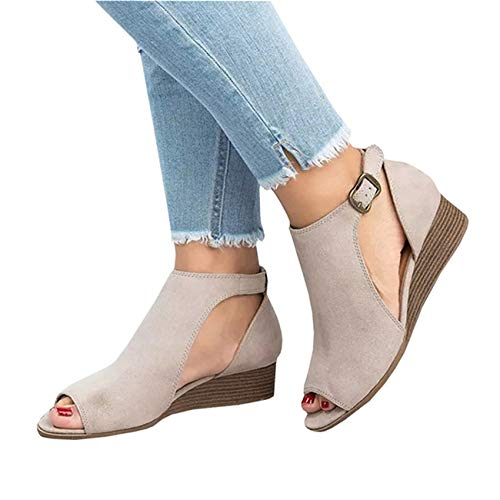 (YOMISOY Womens Wedge Sandals Peep Toe Ankle Strap Cut Out Boots Low Heel Fashion Dress Sandals Beige)