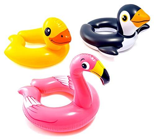 Intex, 43234-2327 3 Pack 59220EP - Animal Head Split Ring Pool Floats Bundle Includes Frog, Duck, Penguin, Giraffe, Frog, Penguin by Intex