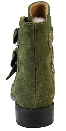 Femminili Alta Caviglia Esclusivi Stivaletti Rivetto Donne Grosso Tacco Esercito Verdi Basso FZgqwTx6T