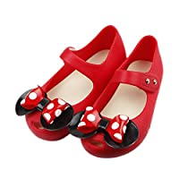 iFANS Girls Sweet Dot Bow Princess Sandals Shoes Mary Jane Flats for Toddler/Little Kid Red