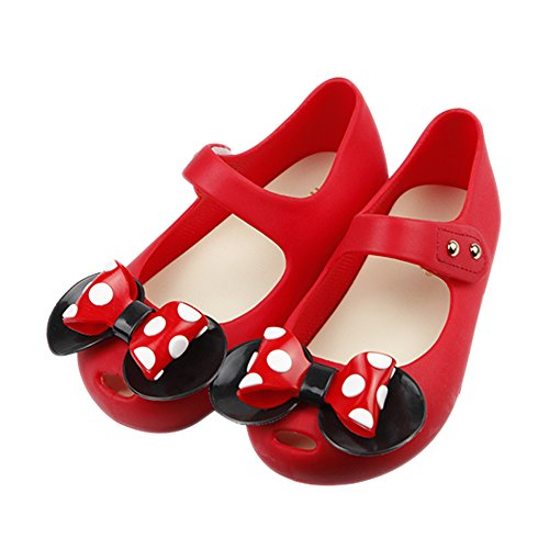 iFANS Girls Sweet Dot Bow Princess Sandals Shoes Mary Jane Flats for Toddler/Little Kid Red ()