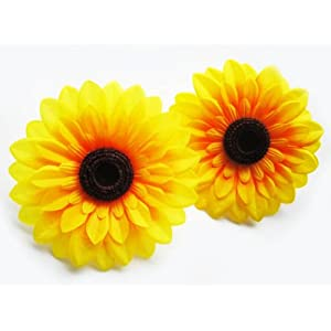 "(12) Big Silk Yellow Sunflowers Sun Flower Heads - 5.5"" - Artificial Flowers Heads Fabric Floral Supplies Wholesale Lot for Wedding Flowers Accessories Make Bridal Hair Clips Headbands Dress 6"
