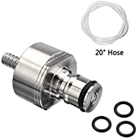 Stainless Steel Carbonation Cap, Ball Lock Type Carbonator Cap, Counter Pressure Bottle Cap With 20 Hose & 5/16 Barb For PET Bottles & Standard 1-and-2-liter Bottles,Carbonating Soda Beer Water