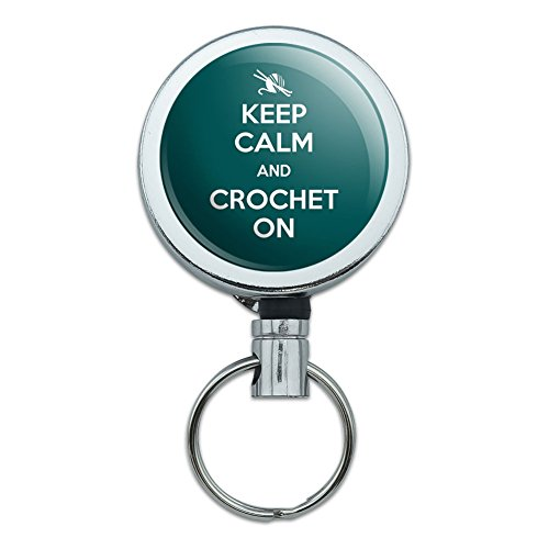 Metal Retractable Reel ID Badge Key Holder with Belt Clip Keep Calm and A-H - Crochet On Yarn Needles