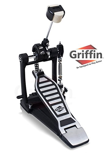(Single Kick Bass Drum Pedal by Griffin|Deluxe Double Chain Foot Percussion Hardware for Intense Play|4 Sided Beater and Fully Adjustable Power Cam System|Perfect for Beginner and Experienced Drummers)