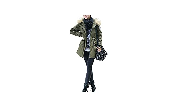 Amazon.com: LR New New Women Winter Coat Wadded Jacket Medium-Long Plus Size 4XL Parka Fur Collar Thickening Hood Abrigos Female Snow wear Army Green XXL: ...