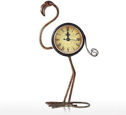 Tooarts Reloj de Metal - Forma de Pájaro Flamenco - Reloj de Mesa ...
