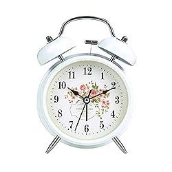 Alarm Clock LITING_Wang Student Bedside Creative Children Small Cute Cartoon Silent Simple Bedroom Mini Super Loud Table Clock Alarm Table (Color : White)