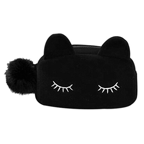 Portable Cartoon Cat Makeup Flannel Cosmetic Bag Pouch Travel Size (Black)