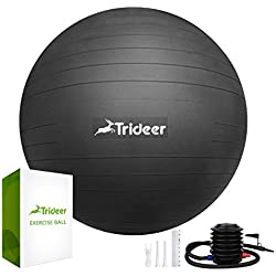 Trideer Exercise Ball (45-85cm) Extra Thick Yoga Ball Chair, Anti-Burst Heavy Duty Stability Ball Supports 2200lbs, Birthing Ball with Quick Pump (Office & Home & Gym) (Black, L (58-65cm))