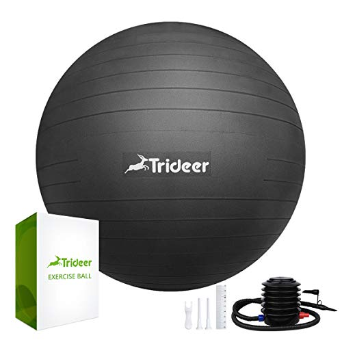 Trideer Exercise Ball (45-85cm) Extra Thick Yoga Ball Chair, Anti-Burst Heavy Duty Stability Ball Supports 2200lbs, Birthing Ball with Quick Pump (Office & Home & Gym) (Black, M (48-55cm))