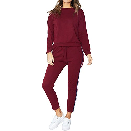 Sweatshirt,Toimoth Women Sports Two Piece Set Hooded Sweatshirt Suits Tracksuits Sweatpants(Wine Red,L)