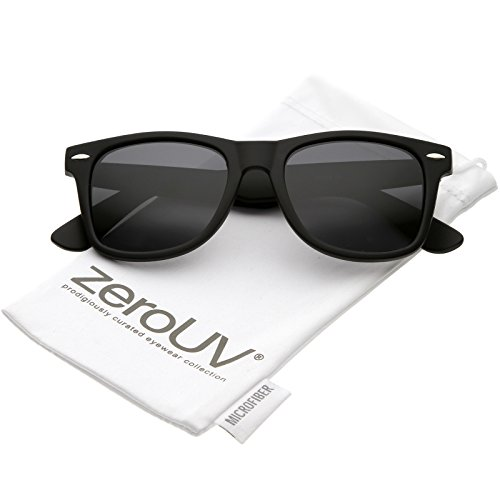 zeroUV - Classic Neutral Color Polarized Horn Rimmed Sunglasses 52mm (Matte Black / - Black Matte Wayfarer Sunglasses
