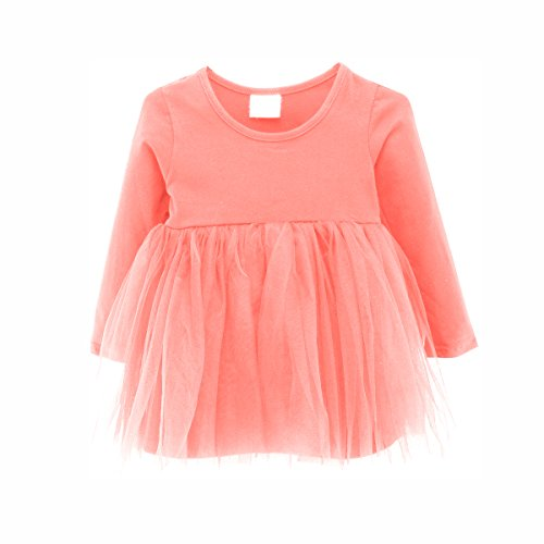 Baby Girl Dress Toddler / Kids Pleated Princess Tutu Skirt with Tshirt Top (86cm(12-18M), pink) (Long Sleeve Baby Girl Dress)