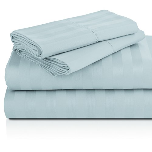 Luxor Linens Lorenzo Luxurious 1000-Thread-Count 100% Mercerized Egyptian Cotton 4-Piece Striped Sheet Set - Extra Long Staple, Crisp & Cool - 4 Sizes & 13 Colors Available - Full - Blue (Michael Cotton Fitted Sheet)