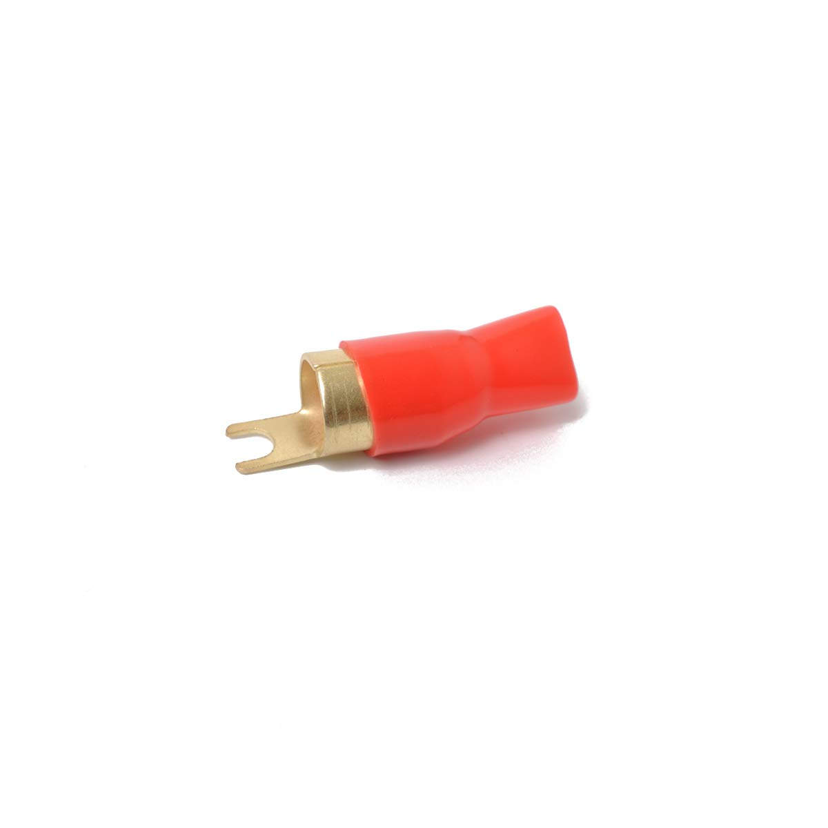 Red and Black 0GA 1 Pair Copper Gold Plated 0 Gauge Spade Terminal Crimp Connectors Adapters Crimp Barrier Spades for Speaker Wire Cable Terminal Plug