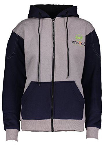 Motor Sports Zipper Hoodie By Bristol Designs: Armoured Zip Sweatshirt With Removable Kevlar Protection For Motorcycle Riding Bikers, Protective Armor For Back, Shoulders and Elbows (XX Large) Kevlar Protective Clothing