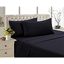 2800 Series Eco Friendly Egyptian Comfort Bamboo Style Collection Bedding 4 Piece Sheet Set (Black, Queen)