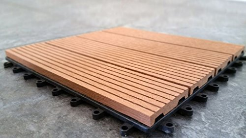 "Vifah 12"" x 12"" Composite Deck Tile in Teak"