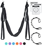 UpCircleSeven Aerial Yoga Swing - Ultra Strong Antigravity Yoga Hammock/Sling for Air Yoga Inversion Exercises - 2 Extensions Straps Included (Black)