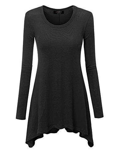 Top Knit Hem Ballet - WT953 Womens Round Neck Long Sleeve Rib Trapeze Tunic Top S Black
