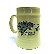 Set: Game Of Thrones, House Stark, Winter Is Coming, Ceramic Stein Mug 21 oz 600 ml Photo Coffee Mug (6x3 inches) And 1x 1art1® Surprise Sticker