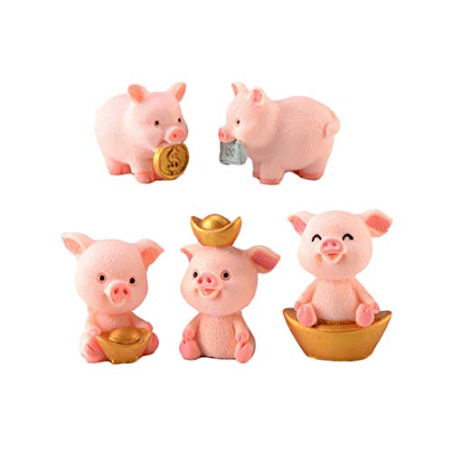 RAYNAG 5 Miniature Pig Figures Aborable Animal Figurines Toys Lucky Piggies Cake Topper Decorations Resin DIY Craft Project Decor