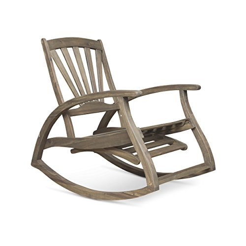 Great Deal Furniture 305228 Alva Outdoor Acacia Wood Rocking Chair with Footrest, Gray Finish