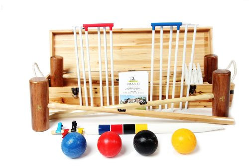 Wood Mallets Premium Garden Croquet Set, 4-Player by Wood Mallets