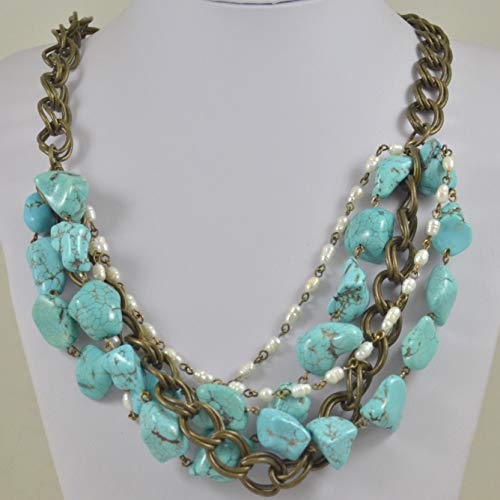 Multi-strand Western Style Necklace from Turquoise Colored Howlite Brass Tone Chain and Freshwater Pearls