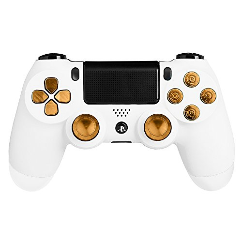XFUNY(TM) Metal Bullet Buttons ABXY Buttons + Thumbsticks Thumb Grip and Chrome D-pad for Sony PS4 DualShock 4 Controller Mod Kit (Gold)